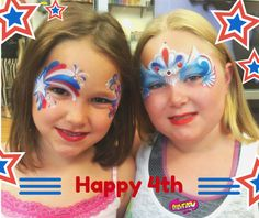 Fourth of July 4th red white and blue masks. face painting.