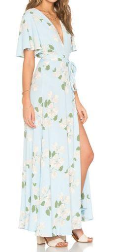 V Neck Floral Printed High Split Maxi Prom Dress