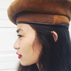 d133f87bfca14 calling all hat lovers! amazing and unique vintage tan suede leather beret