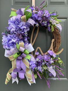 Purple Hydrangea Front Door Wreath