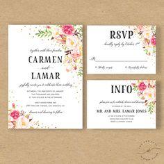 Printable Wedding Invitation Printable Floral Wedding Invitation