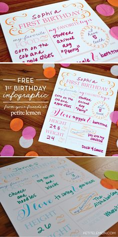 FREE 1st birthday infographic from Petite Lemon — simply print and fill out yourself!!