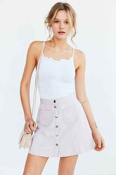 BDG Twill Button-Front A-Line Skirt - Urban Outfitters