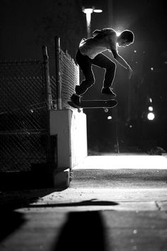 Silhouetted skater in black and white