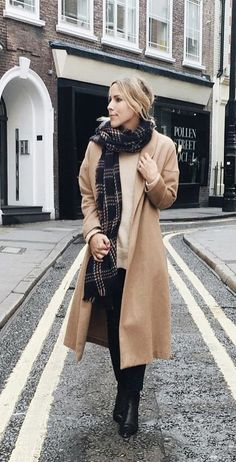 Camel Coat Playing Up Plaid