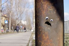Vanyu Krastev In Bulgaria Is Putting Googly Eyes On Broken Street Objects, And It's Even Better Than Fixing Things Bulgaria, Art Banksy, Colossal Art, Googly Eyes, Eye Art, Street Art Graffiti, City Art, Street Artists, Art Plastique