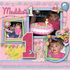 Maddie's 1st Birthday, digital layout by pawprints