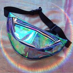 Iridescent Opal Mermaid Fanny Pack / Festival Bag with Rainbow Zippers