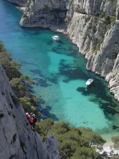Calanque, enjoyed by weekend hikers, mountain-climbers, boaters, swimmers, and sun-bathers in Cassis, France