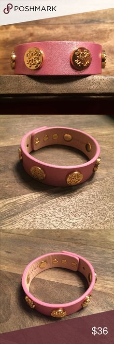 "Meagen Wide Metallic Wrap Metallic pink on genuine leather adorned with gold RC logos. Measures 6.25"" up to 8.25"" with adjustable peg closures. One size fits most. Dust/storage bag included. In like new condition! Rustic Cuff Jewelry Bracelets"