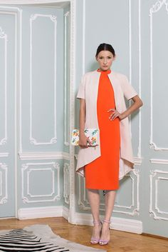 Carrot red office dress & nude coat