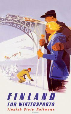 Poster by Jaska Hänninen Finland for Wintersports. Train Posters, Railway Posters, Vintage Ski Posters, Vintage Ads, Retro Posters, Lappland, Finland Travel, Travel Ads, Train Art