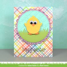 Lawn Fawn - Happy Hatchling, Easter Border, Fancy Scalloped Circle Stackables, Happy Easter, Grassy Border, Stitched Circle _ card by Chari for Lawn Fawn Design Team