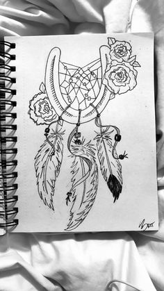 Different version of the horse shoe dream catcher, with roses. Outline only, gra. - Different version of the horse shoe dream catcher, with roses. Outline only, graphite pencils with - Shoe Tattoos, Body Art Tattoos, New Tattoos, Sleeve Tattoos, Tatoos, Dream Catcher Drawing, Dream Catcher Tattoo Design, Dream Catchers, Cowgirl Tattoos