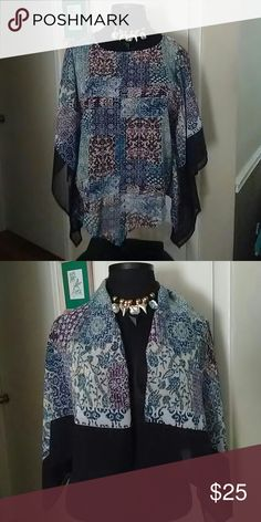 Beautiful Poncho Scarf Multi color hold in middle to go over your head..arm holds...very comfortable and light...can also fold in half for a shawl..size large and some small or medium could fit.. Accessories Scarves & Wraps