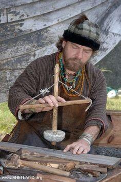 Medieval hand drill (pump drill)