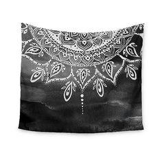 Gray Abstract Li Zamperini Black & White Mandala Wall Tapestry ($45) ❤ liked on Polyvore featuring home, home decor, wall art, grey, mandala wall art, gray home decor, black white wall art, black and white wall art and grey wall art