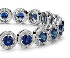 Sapphire and Pavé Diamond Halo Bracelet in 18k White Gold   Blue Nile