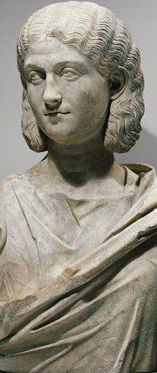 Portrait bust of a woman, 200–230 A.D.; Severan Roman Marble H. 25.62 in. (65.07 cm)