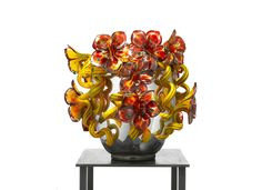 """Silvered Venetian with Tansy and Oxblood Flowers, 2009, 19 x 20 x 20""""  