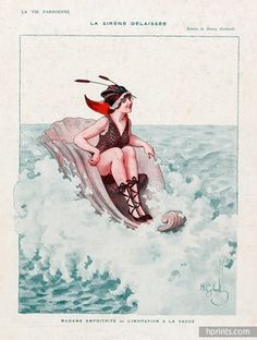 27520-gerbault-1916-mrs-amphitrite-surfing-shell-bathing-beauty-hprints-com.jpg (363×480)