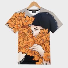 Discover «Orange flower», Limited Edition Men's All Over T-Shirt by Paola Morpheus - From 46€ - Curioos