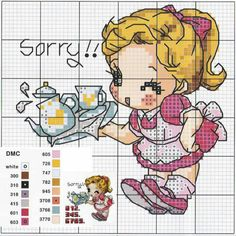 Menina Cross Stitch Kitchen, Cross Stitch For Kids, Cross Stitch Boards, Just Cross Stitch, Cross Stitch Alphabet, Cross Stitch Baby, Cross Stitch Designs, Cross Stitch Patterns, Mandala Sketch
