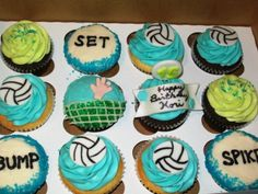Volleyball cupcakes by Grace & Shelly's