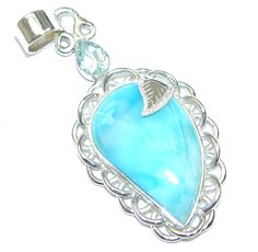 $69.99 Perfect Gift! AAA Blue Larimar & Swiss Blue Topaz Sterling Silver Pendant at www.SilverRushStyle.com #pendant #handmade #jewelry #silver #larimar