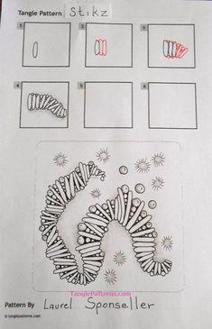 Stikz zentangle pattern Stikz zentangle pattern The post Stikz zentangle pattern appeared first on Lynne Seawell& World. Doodles Zentangles, Tangle Doodle, Tangle Art, Zentangle Drawings, Zen Doodle, Doodle Drawings, Doodle Art, Doodle Designs, Doodle Patterns