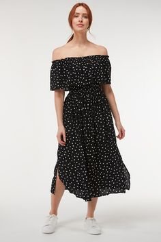 Buy Black Spot Off The Shoulder Dress from the Next UK online shop Off The Shoulder, Shoulder Dress, Black Spot, Strappy Sandals, Bodice, Feminine, Skirts, Tops, Dresses