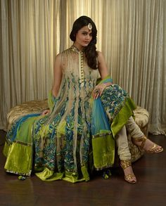 blue, green and nude #IndianClothes #IndianFashion