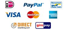 iDEAL, MasterCard, Visa, Amex, PayPal, Giropay, Direct E-Banking, Mister Cash