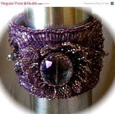 ON SALE Purple Beaded Bracelet, Beaded Cuff, Seed Bead Embroidery,Peyote Leaves, Glass Crystal on Etsy, $45.00