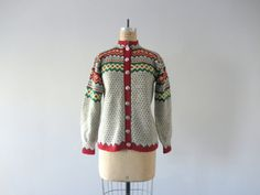 Vintage Nordic cardigan . pattern knit wool sweater by BlueFennel, $92.00