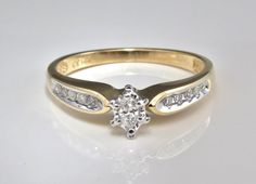 Beautiful Classic Engagement Ring or Stacking Band , Marquis Cut .20 Carat Center Diamond with Ten Accent Diamonds  LB186