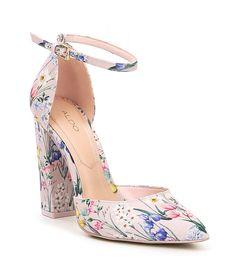 ALDO Nicholes Two-Piece Floral Print Ankle Strap Block Heel Pumps