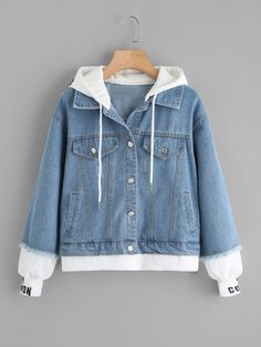 Shop 2 In 1 Ribbed Knit Trim Hooded Denim Jacket online. SheIn offers 2 In 1 Ribbed Knit Trim Hooded Denim Jacket & more to fit your fashionable needs. Girls Fashion Clothes, Teen Fashion Outfits, Sporty Fashion, Fashion Black, Fashion Fashion, Fashion Ideas, Vintage Fashion, Cute Casual Outfits, Stylish Outfits