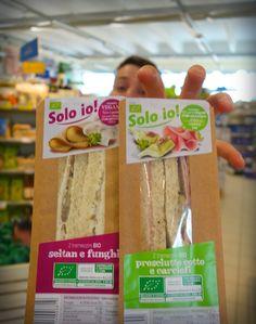 """I nuovi tramezzini """"Solo io"""" in 3 gustose varianti, anche vegan (prosciutto cotto e carciofi, seitan e funghi, tofu-capperi-olive), vanno a ruba!"""