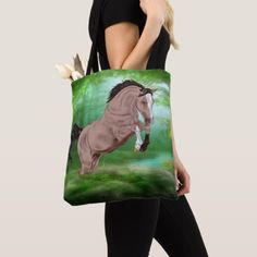 Jumping Buckskin Horse Tote Bag - horse animal horses riding freedom