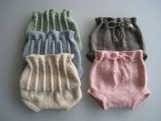 Knitted diaper covers, front and back