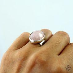 kwarc różowy,róż,srebro,subtelny,pastelowy,elegant - Pierścionki - Biżuteria w…