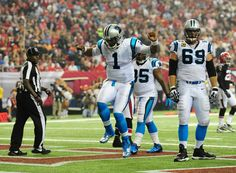 Carolina Panther, Cam Newton~ Not quite sure what kind of Jig he's doing but he's doing it and we're winning!!!