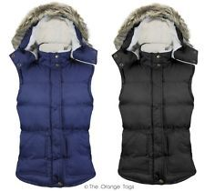 NEW LADIES SLEEVELESS FUR HOODED QUILTED GILET VEST BODYWARMER WOMENS JACKET in Clothes, Shoes & Accessories, Women's Clothing, Hoodies & Sweats | eBay