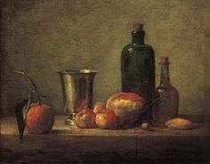Bigarade, gobelet d'argent, pommes d'api, poire et deux bouteilles, v. 1756, huile sur toile, 38x46 cm, Paris, collection privée
