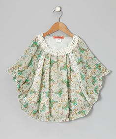 $22. Take a look at this Light Green Butterfly Lace Dolman Tunic - Toddler & Girls by Funkyberry on #zulily today!
