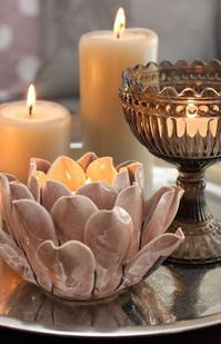 Always be on the look out for a candle holder. Also, use items not intended to be candle holders and make them. Table Decoration Wedding, Table Decorations, Wedding Table, Romantic Decorations, Rustic Wedding, Wedding Mandap, Wedding Receptions, Diy Wedding, Wedding Ideas
