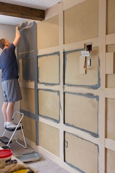 DIY Paneled Wall that covers up textured walls!