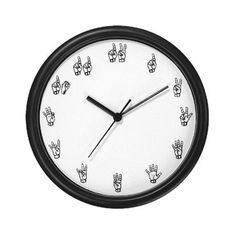 Sign language wall clock, would be awesome in my classroom!! See our amazing American Sign Language Fonts at http://www.teacherspayteachers.com/Product/American-Sign-Language-Style-Font-Family-531193