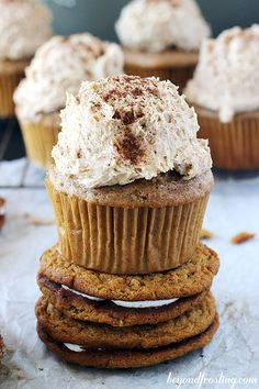 Brown Sugar Spice Cupcakes with Oatmeal Cream Pie Frosting